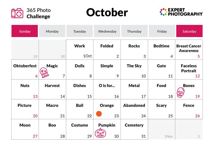 October - 365 photo challenge calendar