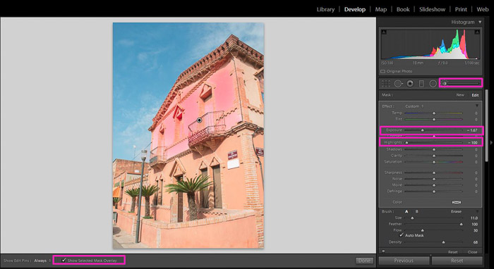 Screenshot showing how to fix an overexposed photo in Lightroom - brush tool