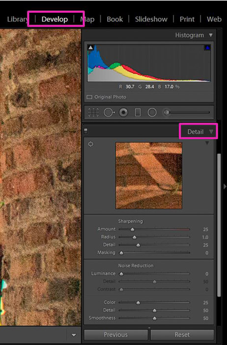 Screenshot showing how to correct exposure in Lightroom - How to Decrease Image Grain