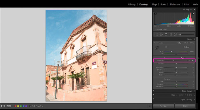 Screenshot showing how to fix an overexposed photo in Lightroom