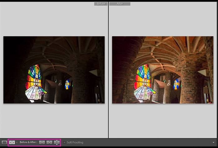 A comporison of before and after correcting an underexposed photo - how to correct exposure in Lightroom