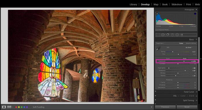 Screenshot showing how to correct exposure in Lightroom