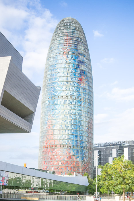 An overerexposed photo of the AGBAR tower in Barcelona. How to correct exposure in Lightroom