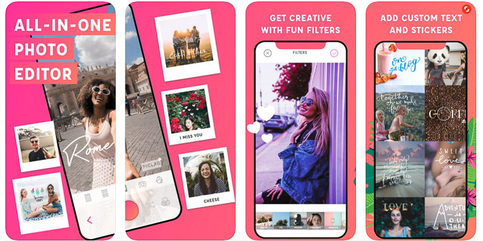 The PicLab app homepage - apps to add text to photos