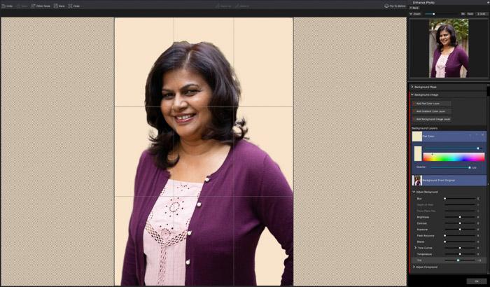 A screenshot of editing a portrait in PortraitPro 17 - Layers adjustment panel.