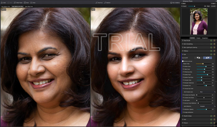 A screenshot of editing a portrait in PortraitPro 17 - Eye adjustment panel. This example shows a ringlight that's been added.