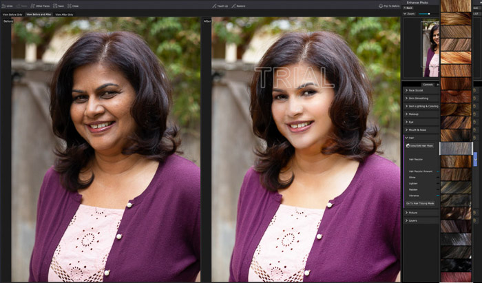 A screenshot of editing a portrait in PortraitPro 17 - Hair adjustment panel. Lots of hair color options!