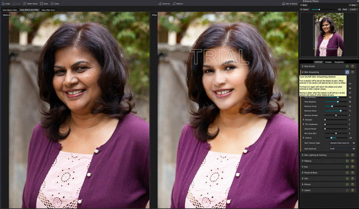 A screenshot of editing a portrait in PortraitPro 17 - before and after adjustments on a female portrait