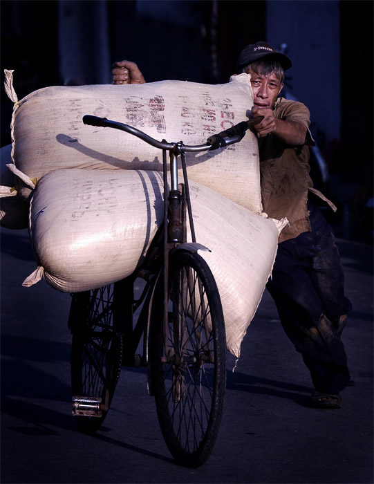 A street portrait of a man carrying large bags of rice on a bicycle