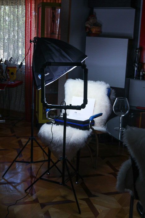A studio setup for product photography shots
