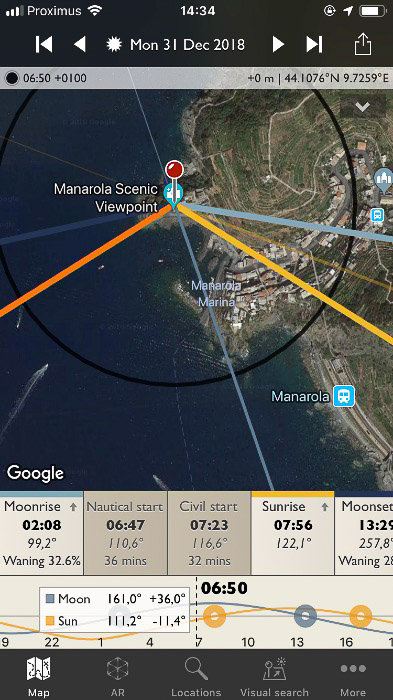 Screenshot of the Photographer's Ephemeris interface on a smartphone screen - Tinnier lines indicate the position of the Sun and the Moon throughout the day.