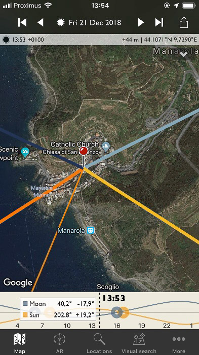 The Photographer's Ephemeris interface - The location is dropped over Manarola.