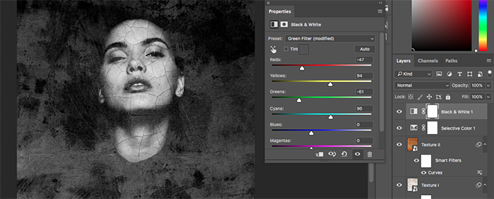 A screenshot showing how to create abstract portraits in Photoshop - color correction