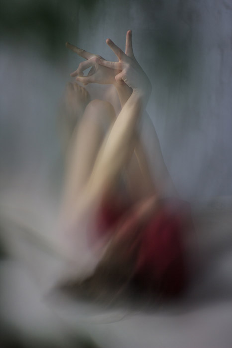 An abstract photo a person, using intentional motion blur
