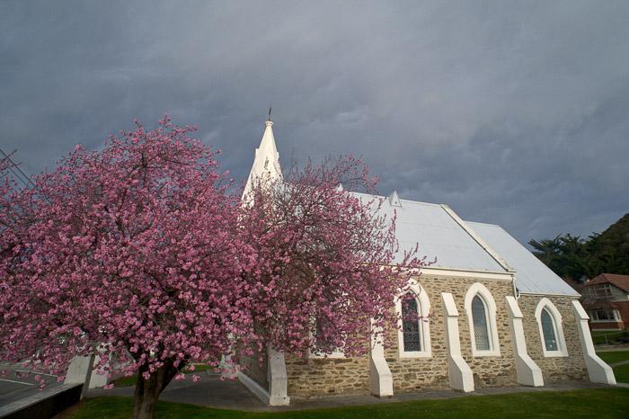 A stone church on an overcast day - nikon prime lenses