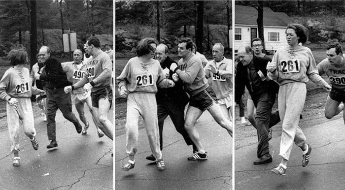 Primeira mulher a correr oficialmente na Maratona de Boston - Boston Herald (1967)