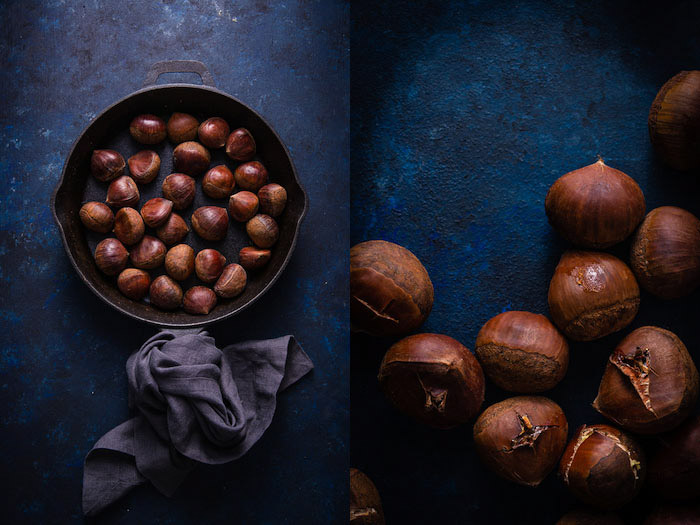 Overhead diptych of chestnuts shot on blue backgrounds
