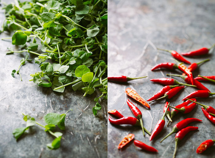 A food photography diptych on grey marbled background