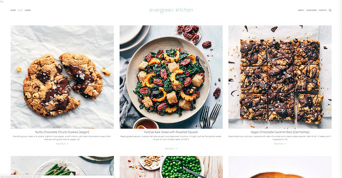 A screenshot from recipes from Evergreen kitchen food blog