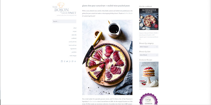 A screenshot of desserts from The Bojon Gourmet food photography blog