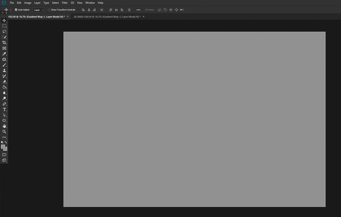 Screenshot showing how to add a gradient map adjustment layer in Photoshop