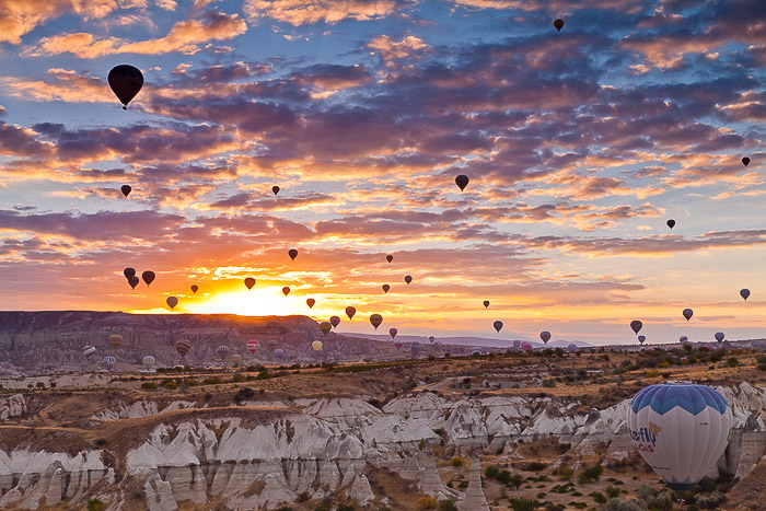 A evening landscape filled with hot air balloons