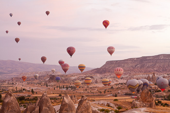 A landscape filled with hot air balloons