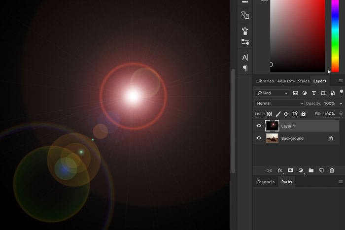 Screenshot showing how to add lens flare in Photoshop