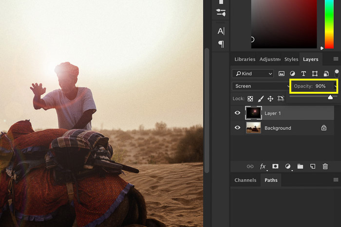 Screenshot showing how to add lens flare in Photoshop - new layer