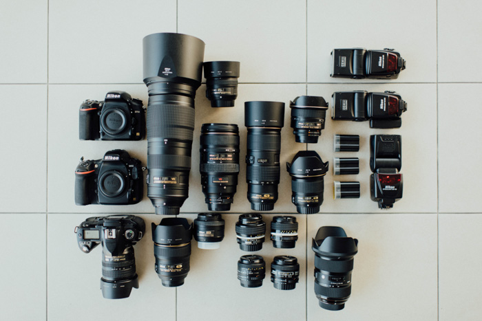 A selection of DSLR cameras and different types of lenses - understanding lens mounts