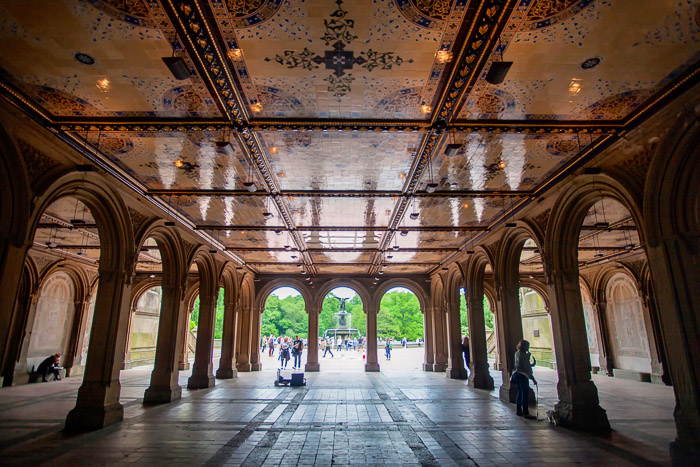 The view through the Bethesda terrace in Central Park in New York , best places to take pictures in nyc