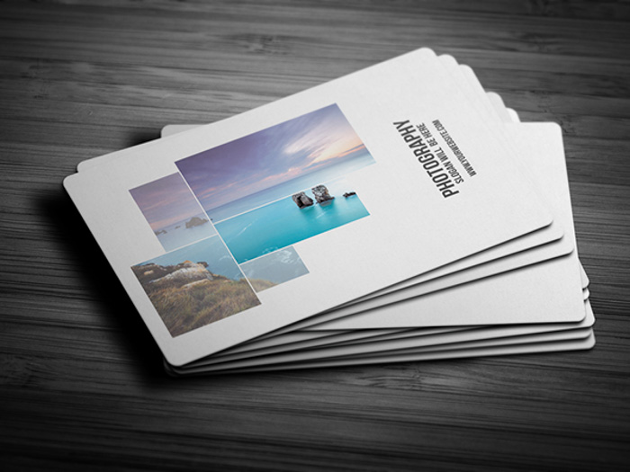 A stack of photography business cards by Landscape Shots