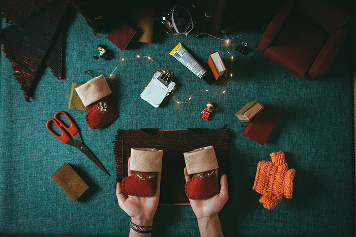 A flat lay photo of materials for puppet making
