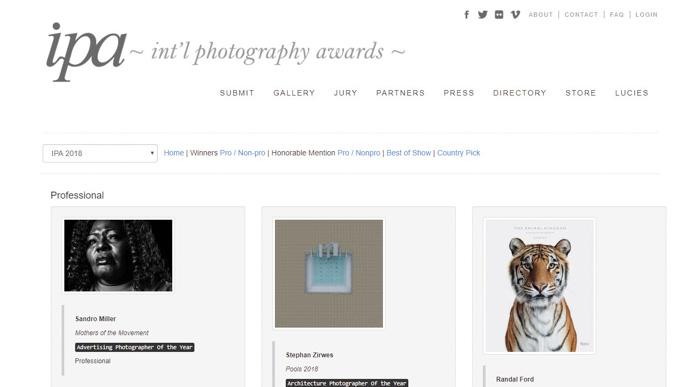 Uma captura de tela do site do International Photography Awards
