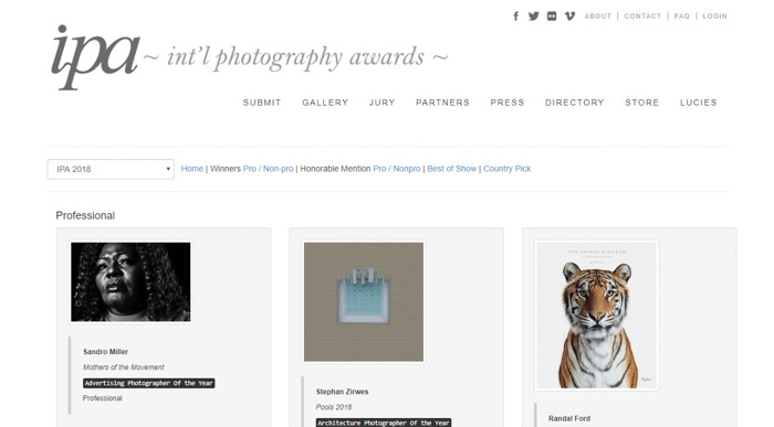 A screenshot from the International Photography Awards website