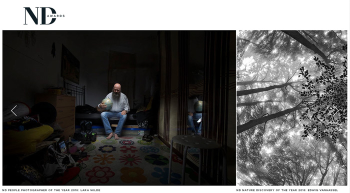 A screenshot from the ND Awards website - photography contests