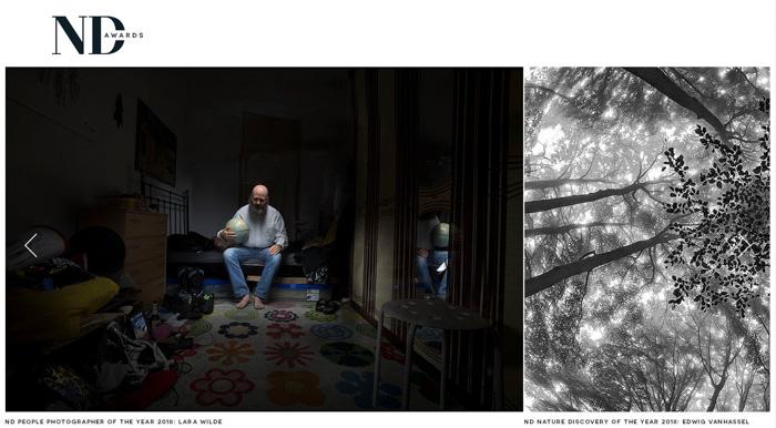Uma captura de tela do site do concurso de fotos ND Awards