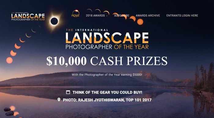 Captura de tela do site do concurso de fotografia do Fotógrafo de Paisagem Internacional do Ano
