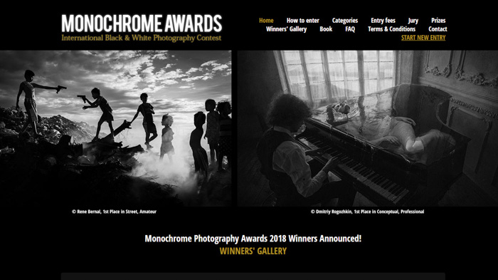 Monochrome Photography Award homepage screenshot - best photography contests