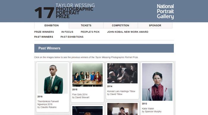 Uma captura de tela do site do prêmio Taylor Wessing Photographic Portrait.