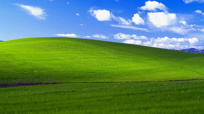 "'Bliss"" the default wallpaper for Windows XP, captured by Charles O'Rear in 1996"