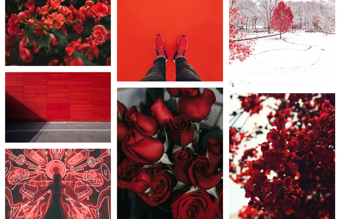 A photo grid with a focus on the color red in photography - 365 photo challenge ideas