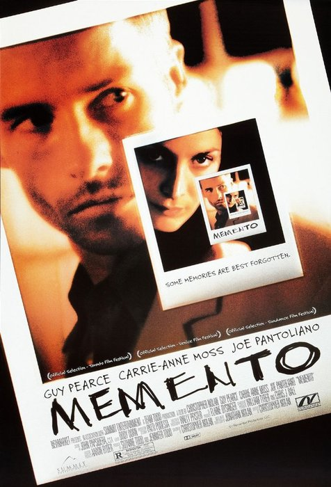 The film poster for Memento - 2000, best photography movies