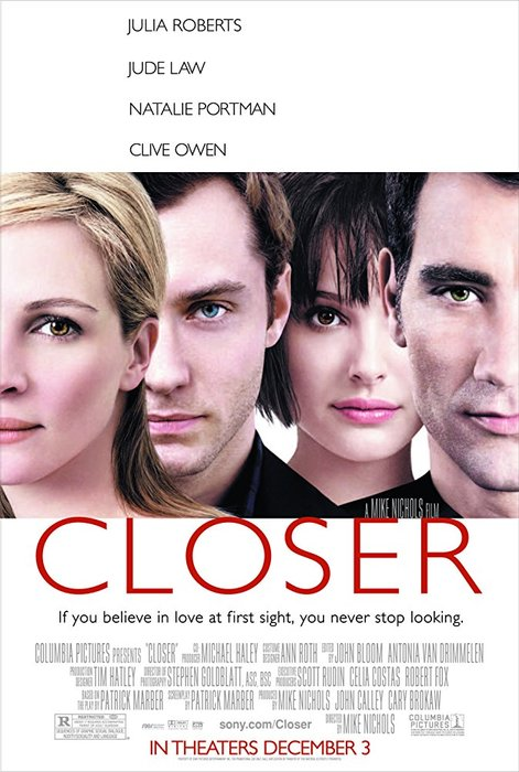 A movie poster for Closer - 2004, best photography movies