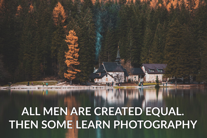 Photography jokes overlayed on a photo of a pretty lake by a forest
