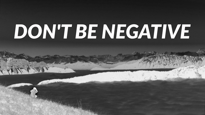 Don't be negative - photography jokes overlayed on stunning black and white landscape shot