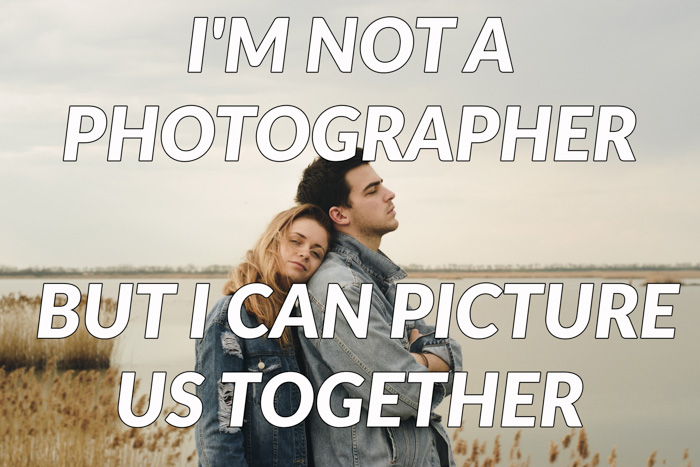 Photography puns overlayed on a photo of a couple on the beach
