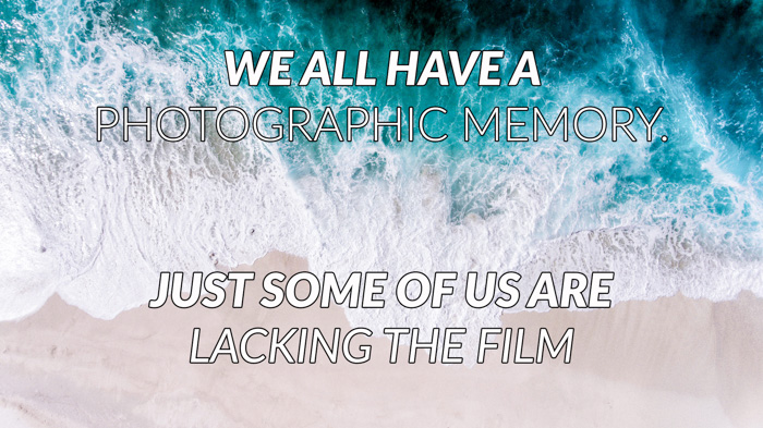 Photography puns overlayed on a photo of a beach