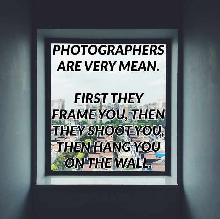Photography jokes overlayed on a photo of a window