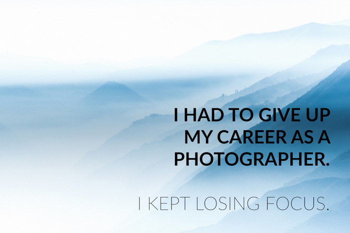 Photography jokes overlayed on a photo of misty mountains